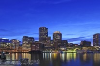 Down town Boston at nightfall