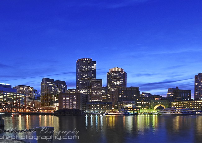Down town Boston at nightfall