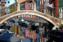 Footbridge spanning canal on island of Burano