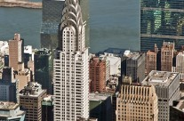 Aerial of Manhattan, focussing on Chrysler Building
