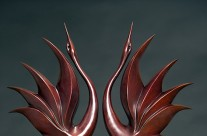Dancing Cranes – Bronze sculpture by Simon Gudgeon