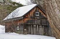 Rustic barn in winter in Cornwall Connecticut