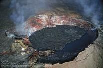 Over-flying the active crater of Kilauea Volcano on Hawaii's Big Island