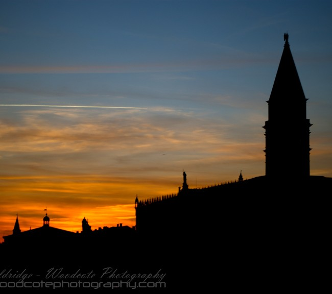 Sun setting over St Mark's Square, Venice