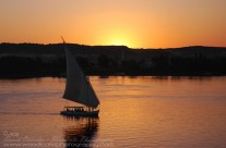 Local Felucca returning home on Nile river