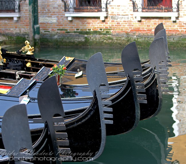 "Gondolas parked in a side ""street"" in Venice"