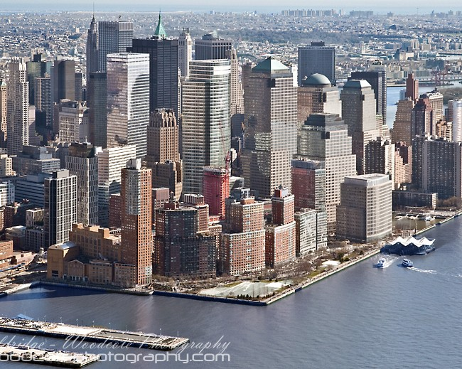 Lower Manhattan from above the Hudson River