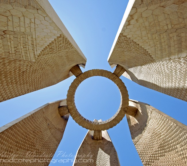 Looking up through centre of Russian Monument, Aswan.