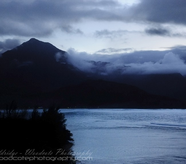Night falls over the sound at Hanalei Bay, Kauai
