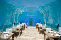 Full interior of Ithaa Undersea Restaurant, off Rangali Island