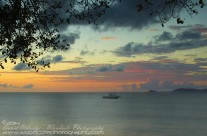 End of the day on the shore of Mustique Island