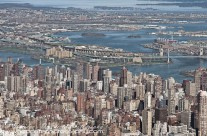 Wide aerial view of Manhattan and beyond