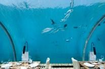 Interior of  Ithaa underwater restaurant